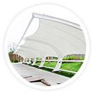 采用进口膜材设计制作的膜结构车棚,使得膜结构车棚和钢结构工程成为现代化的永久建筑,美观而且耐用。